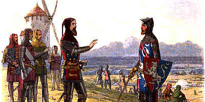 Prince Edward and his father on the battlefield at Crecy